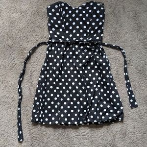 Black & White polka dot sweetheart strapless dress